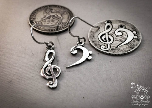 handcrafted bass and treble clef silver earrings made from upcycled silver coins