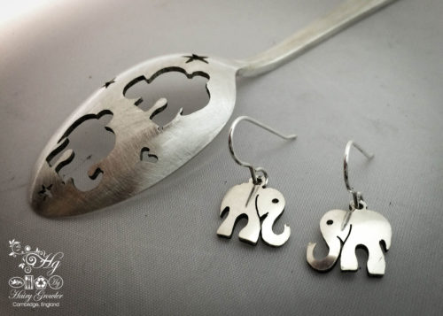 handmade and repurposed antique spoon elephant earrings