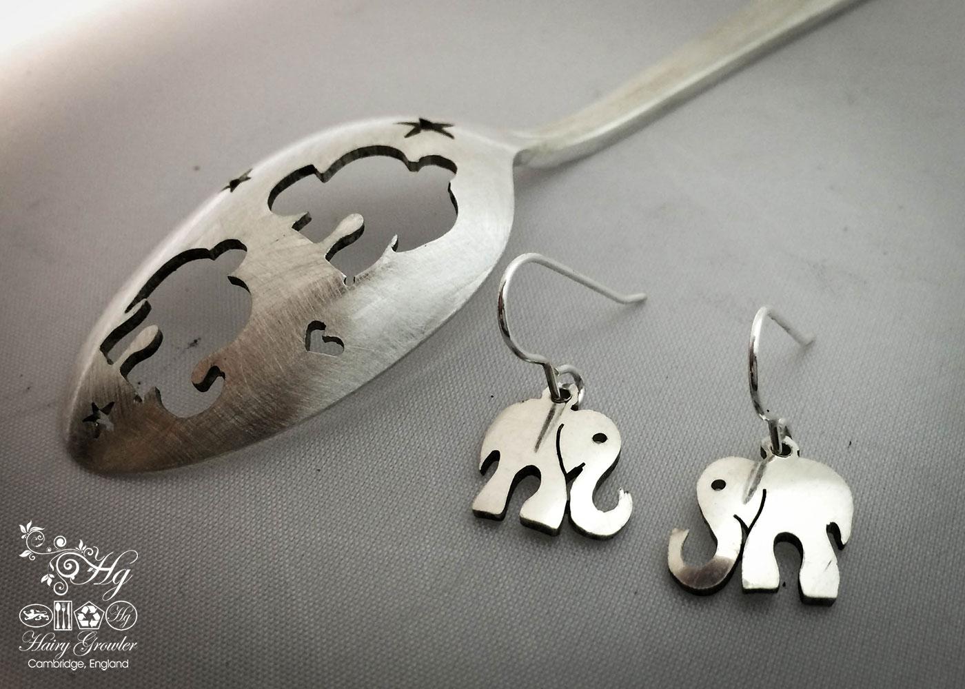 handmade and repurposed antique spoon elephant earrings
