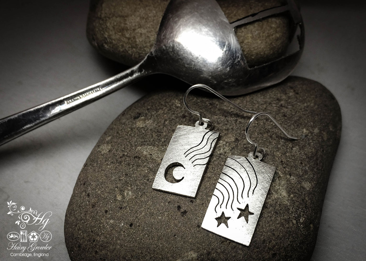 handcrafted and recycled spoon northern lights earrings