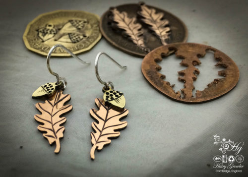 handcrafted and upcycled coin Oak leaf and acorn earrings