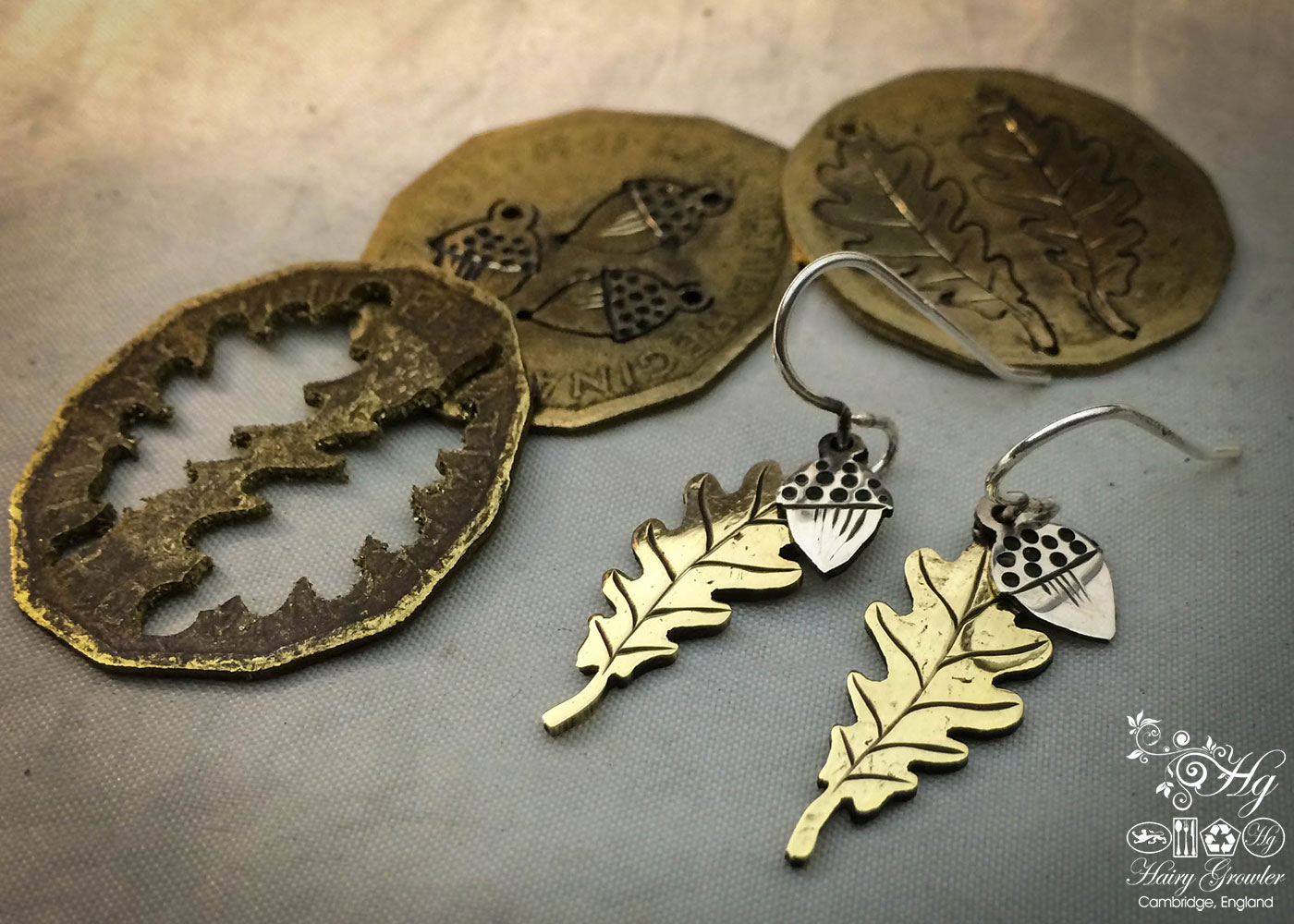 handmade and upcycled coin Oak leaf and acorn earrings