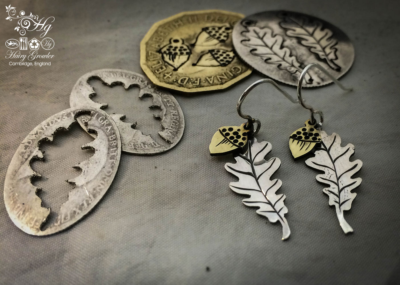 handcrafted and recycled coin Oak leaf and acorn earrings