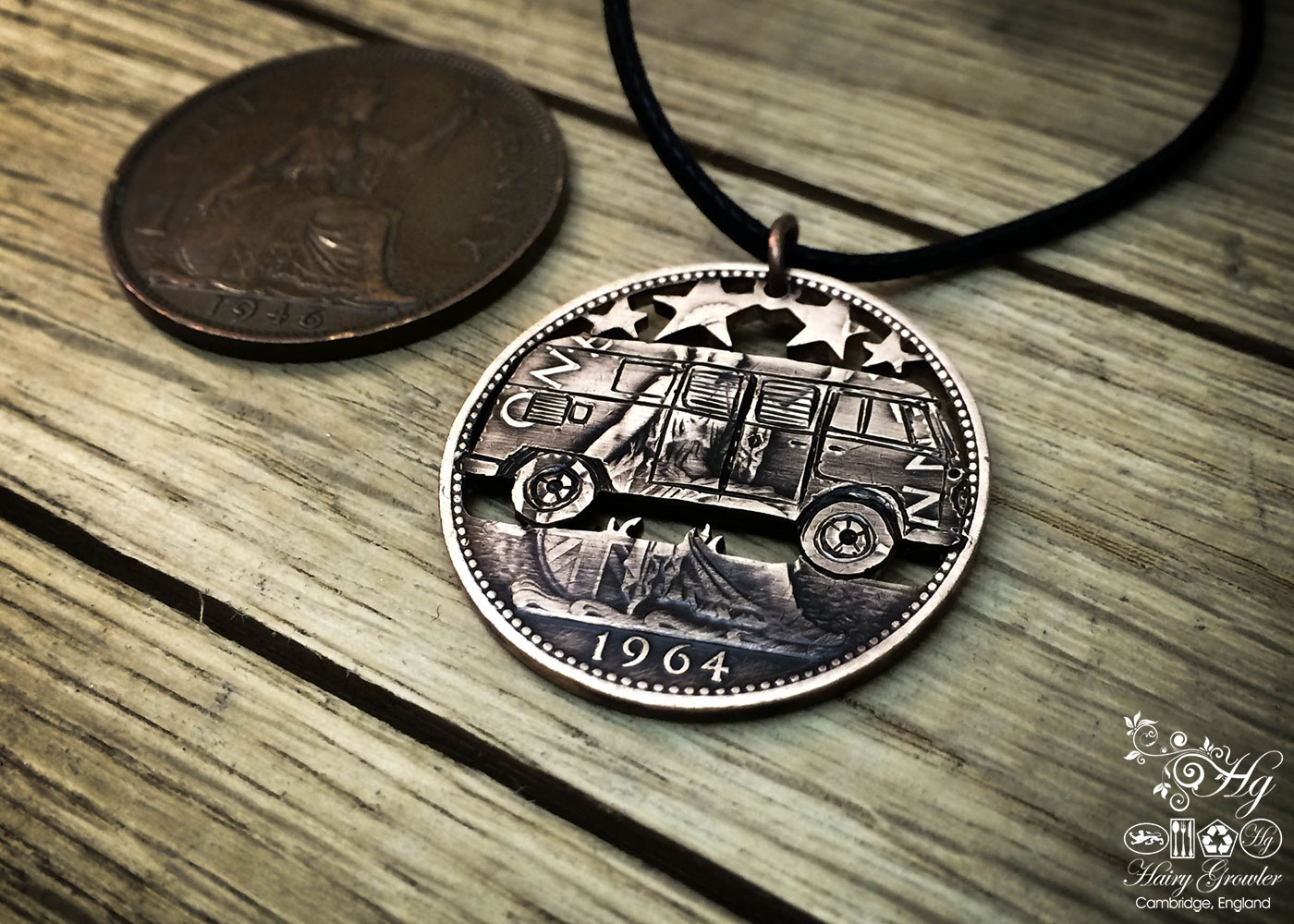 Handmade and upcycled coin VW camper-van pendant necklace