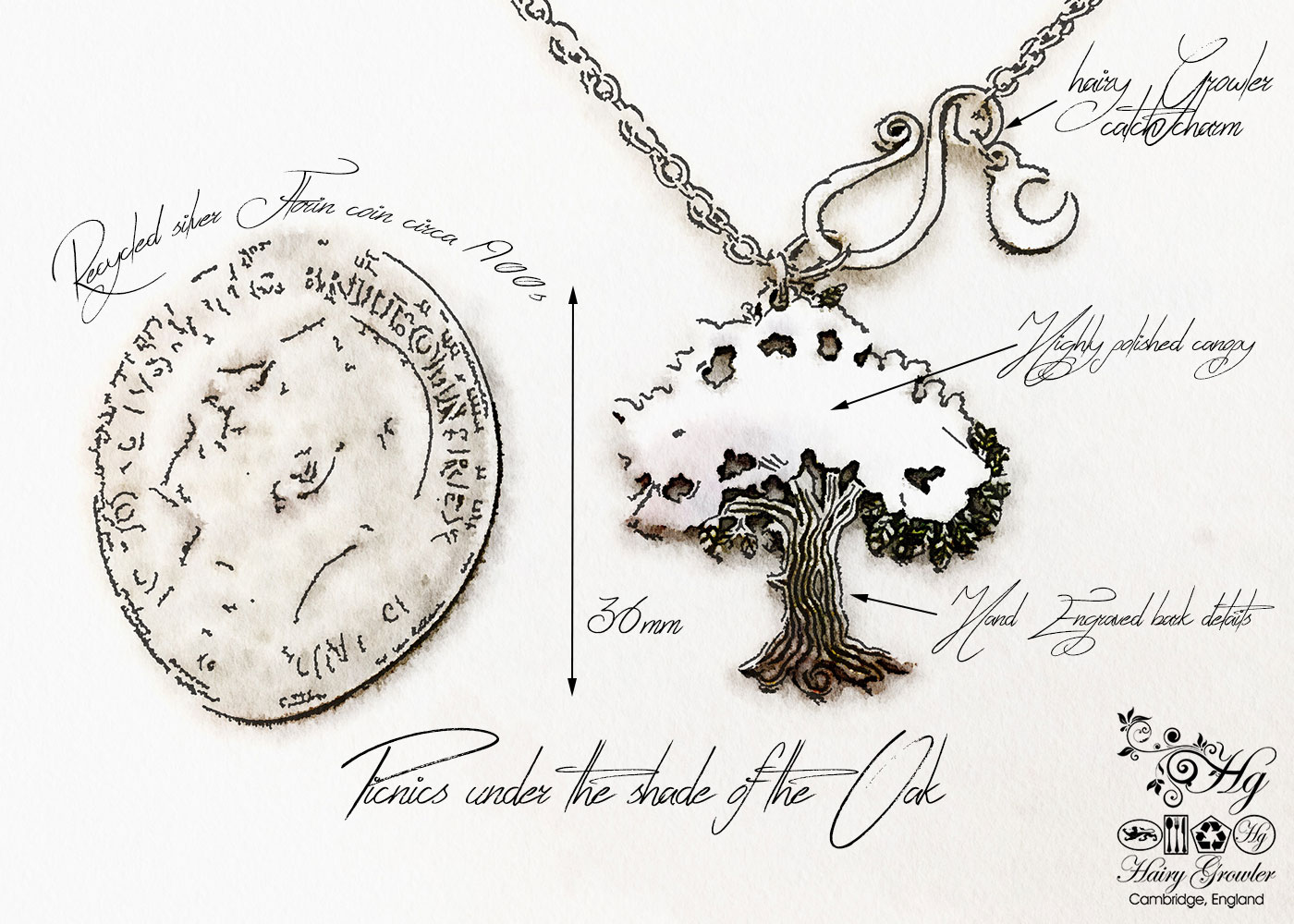 Handcrafted and recycled Victorian silver coin Oak Tree necklace made in Cambridge