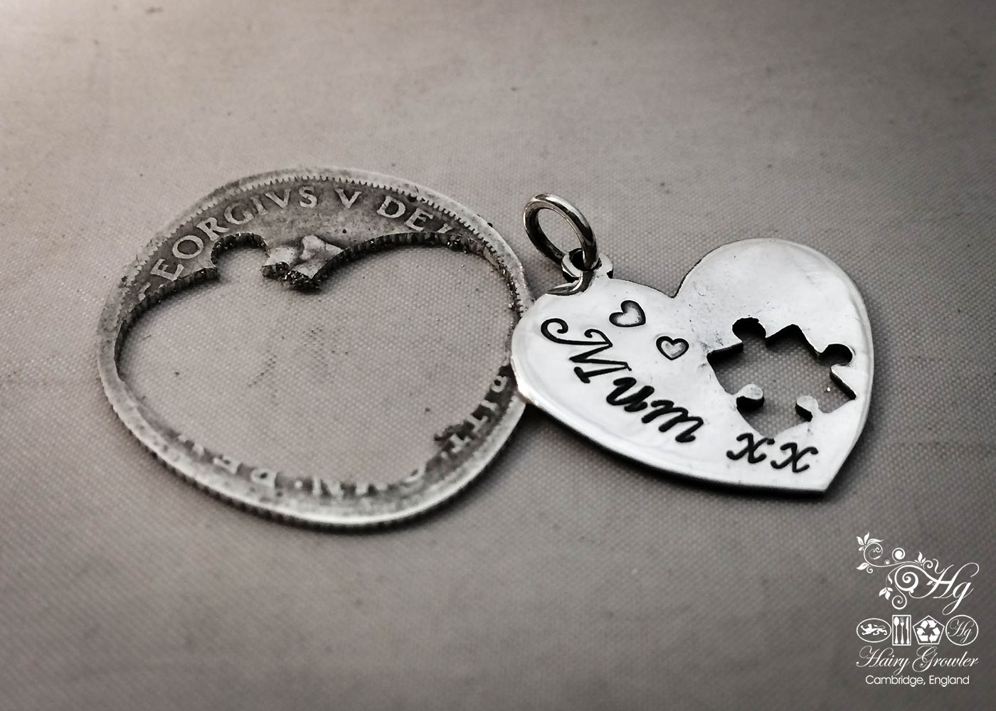 handmade and repurposed silver coin love heart jigsaw necklace pendant