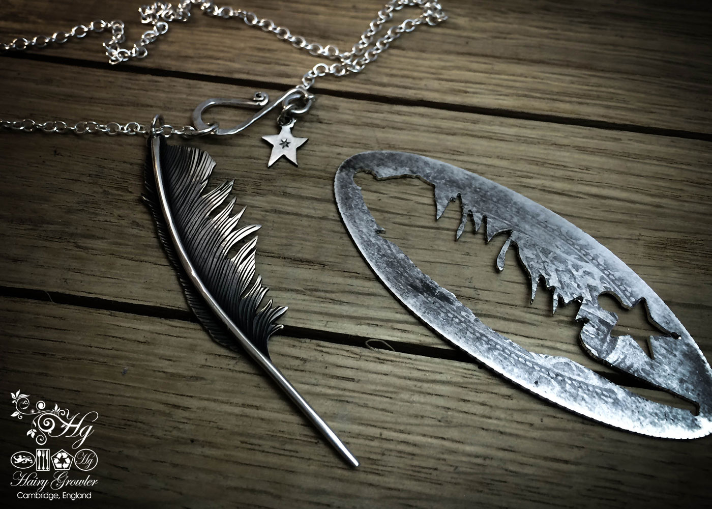Raven girl feather necklace handmade and recycled silver