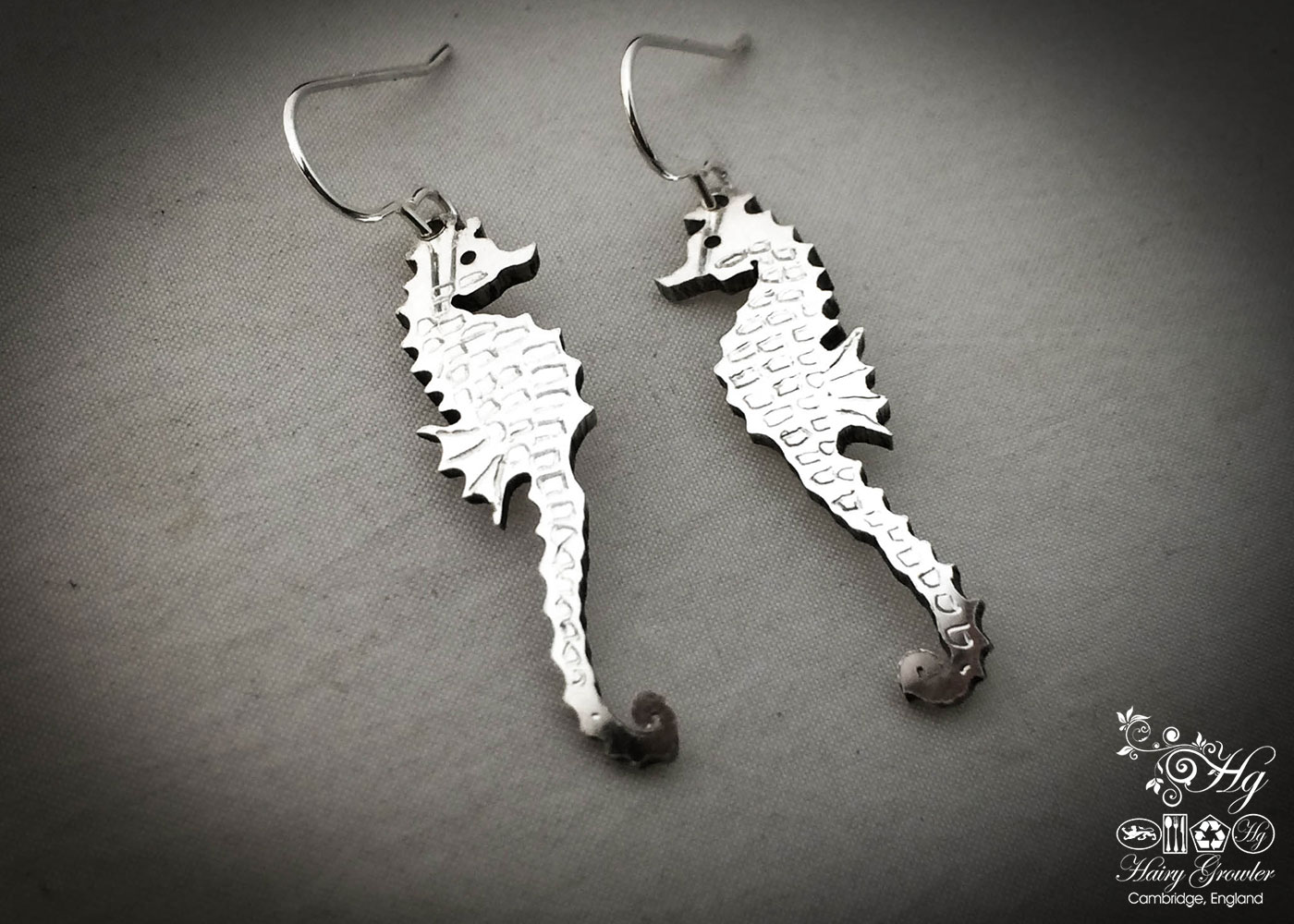 The Official Hairy Growler Jewellery Co. Cambridge - handcrafted and recycled spoon seahorse earrings