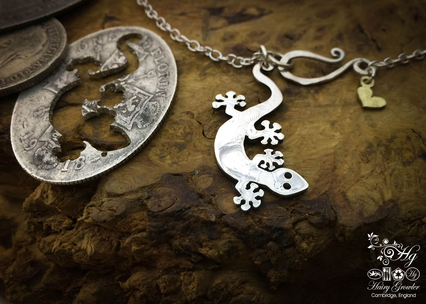 Handmade and upcycled silver coin Gecko necklace pendant