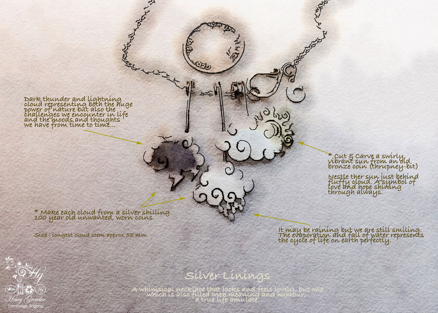 Upcycled sterling silver beautiful cloud necklace made from silver shillings