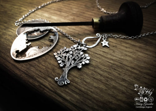 Handmade and upcycled silver Maple tree necklace