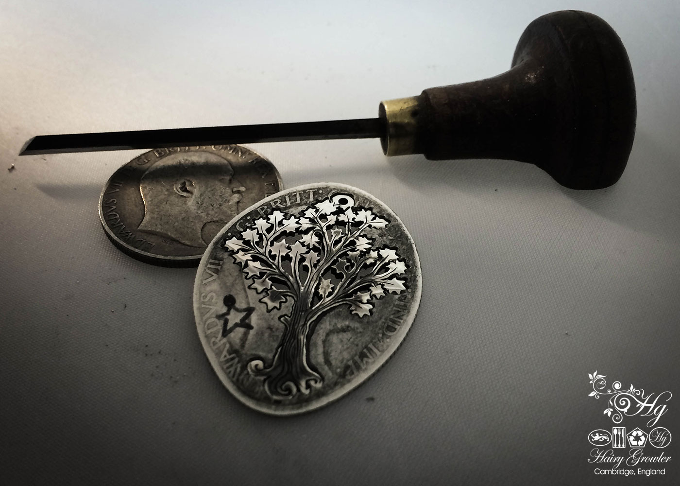 Handcrafted and recycled silver Maple tree necklace