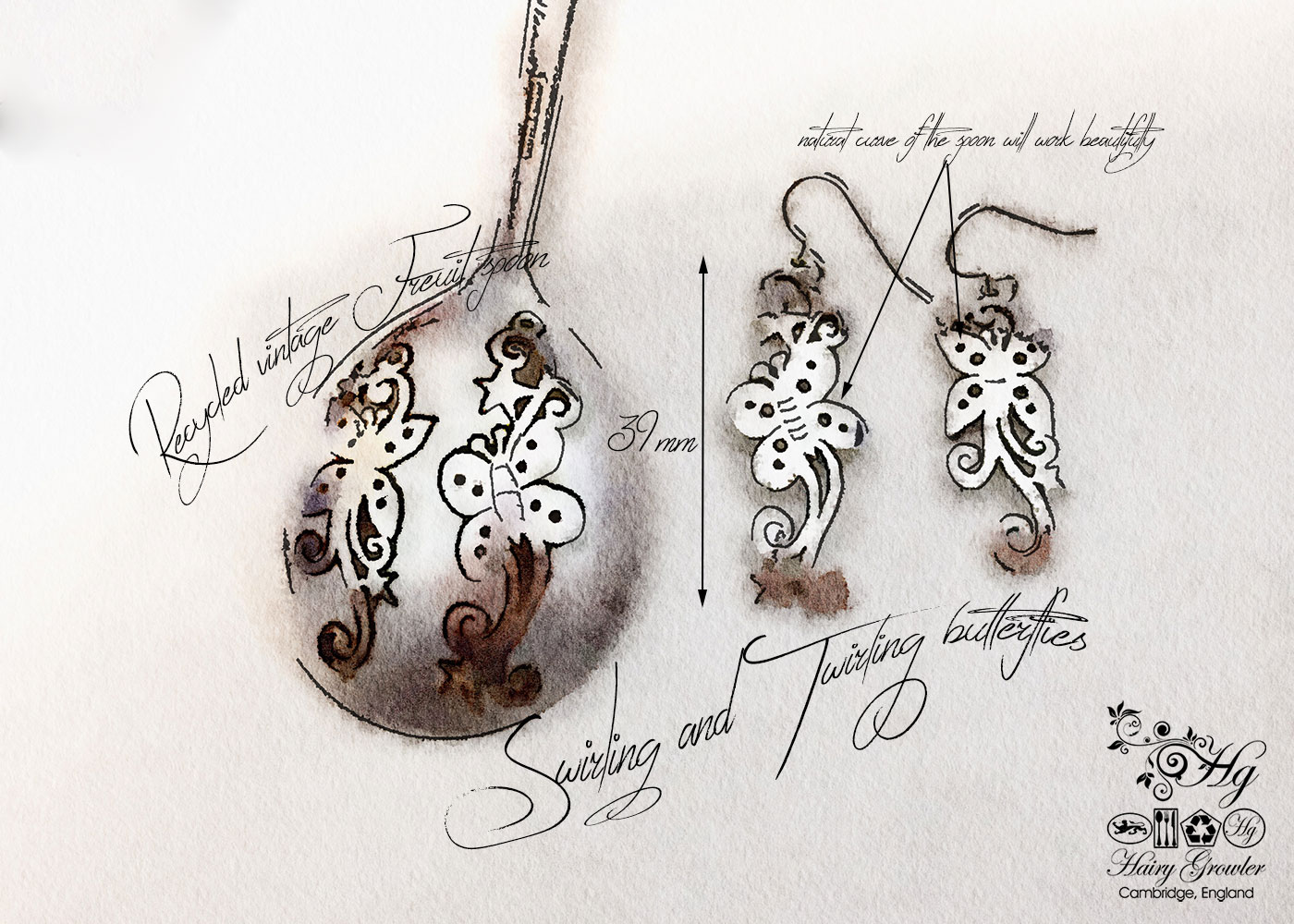 handmade and upcycled spoon butterfly earrings