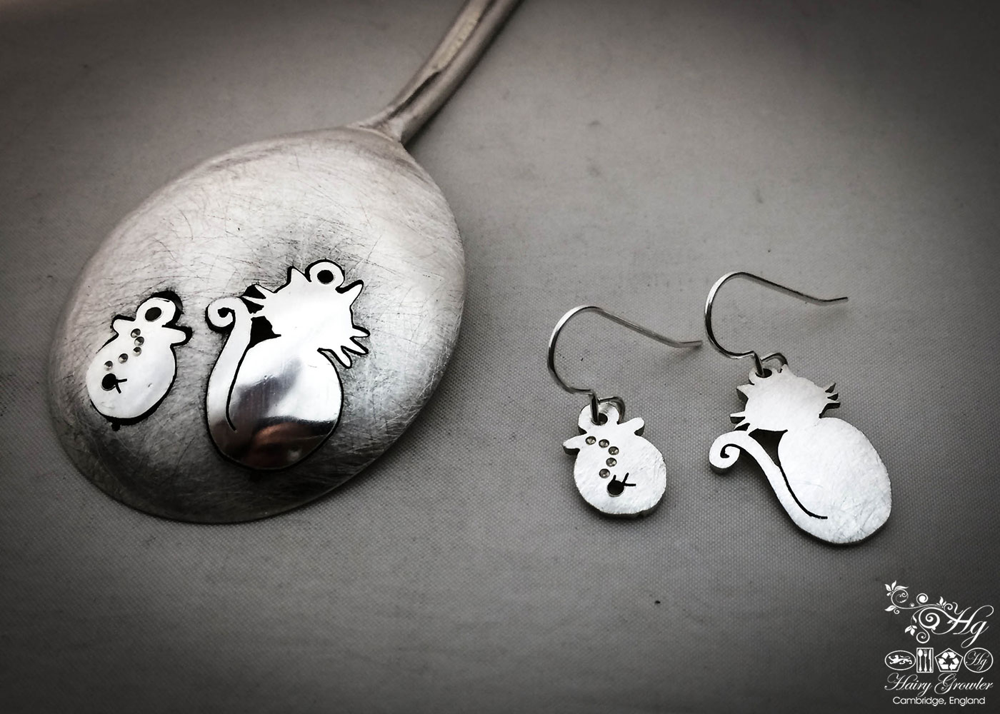 handmade and repurposed spoon cat and fish bowl earrings