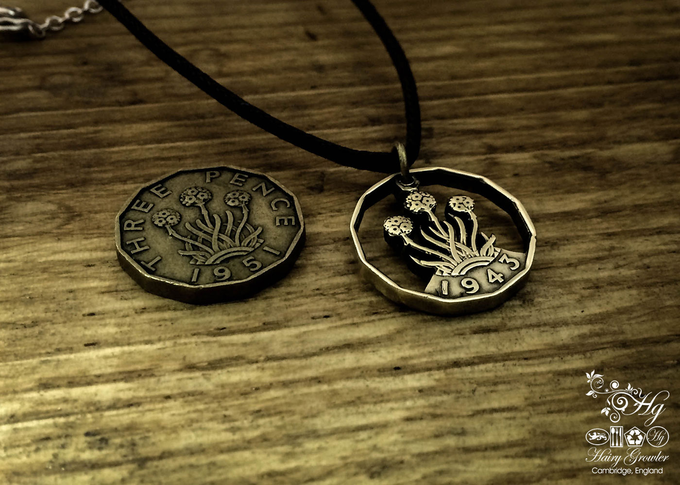 Handcrafted and recycled threepence thrupney bit coin pendant necklace