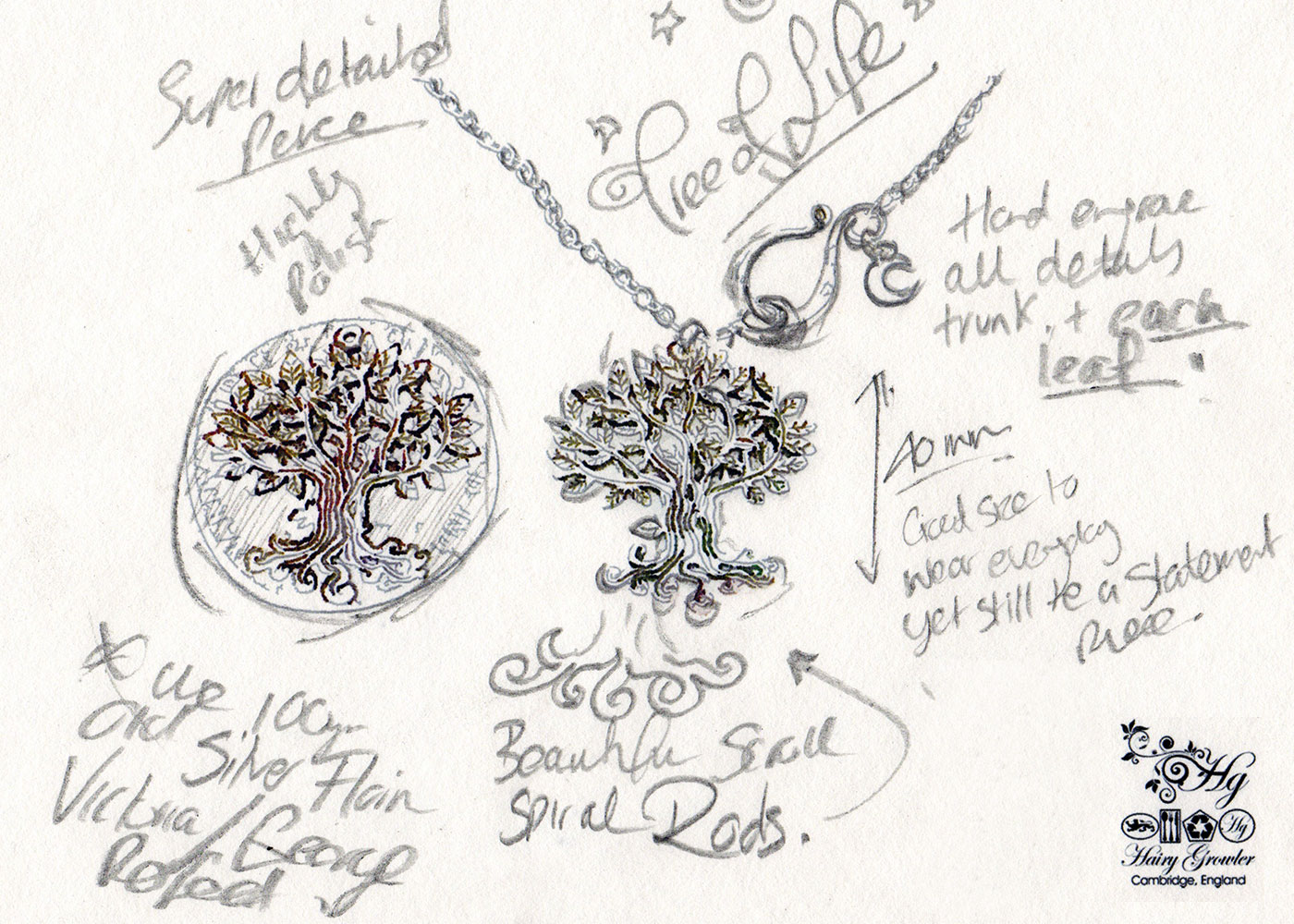 Handcrafted tree of life without tree trunk and leaf engravings