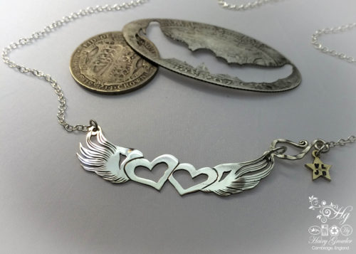 Handcrafted and recycled sterling silver True Love necklace