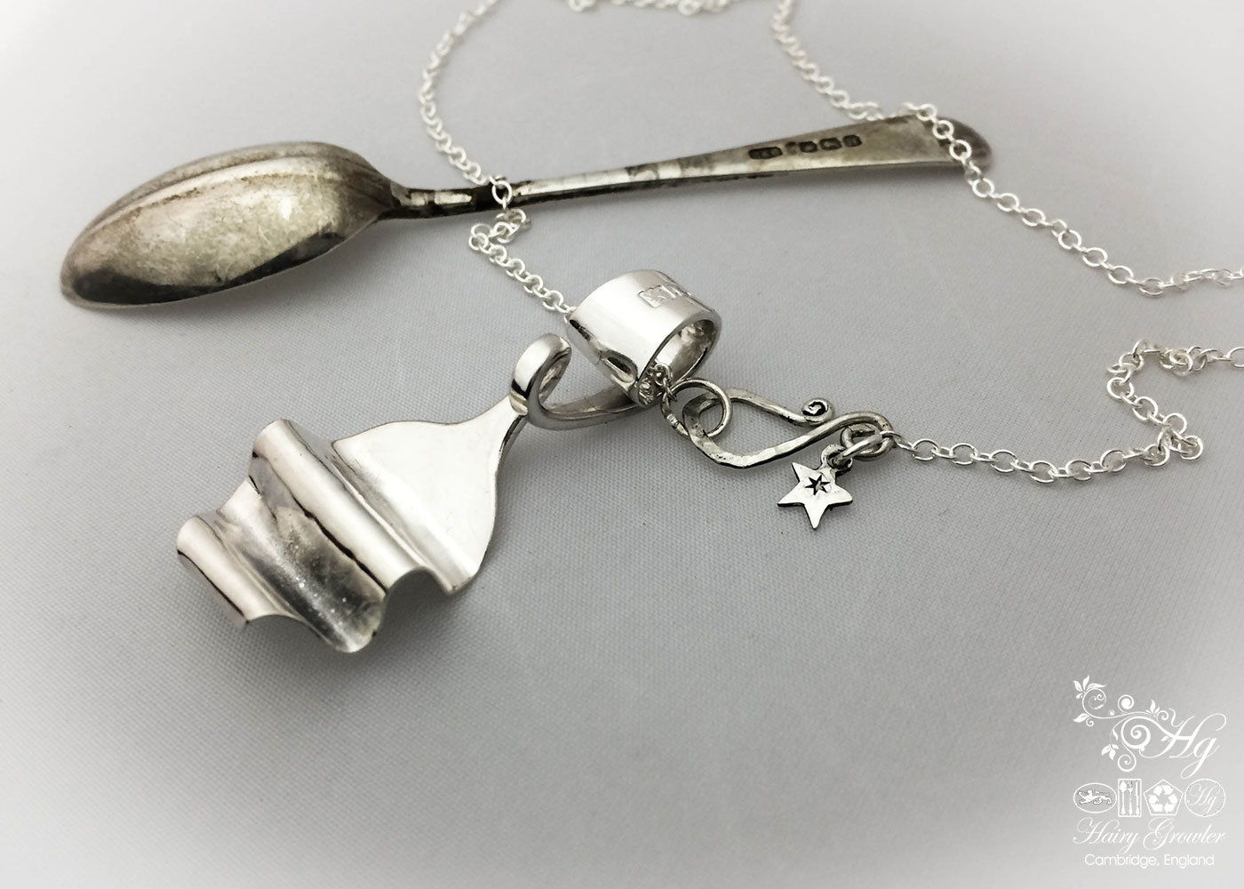 handmade and upcycled sterling silver teaspoon necklace pendant