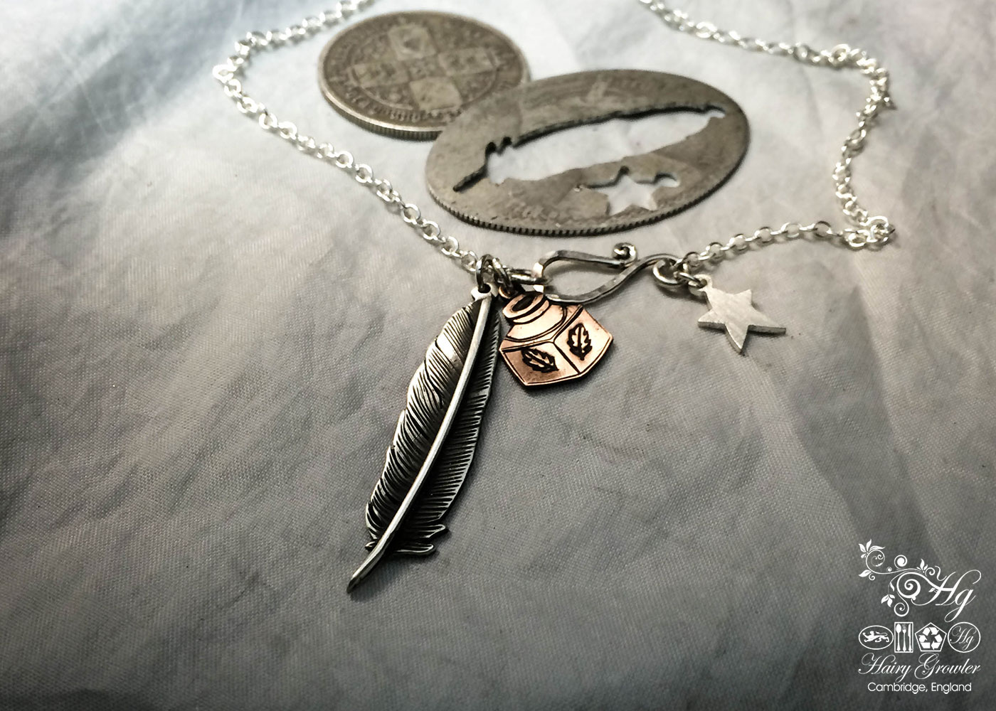 Inkwell and quill writers necklace - handmade and recycled using silver florin coins