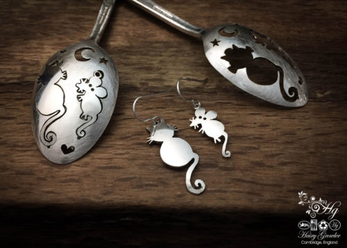 handmade and upcycled teaspoon cat and mouse earrings