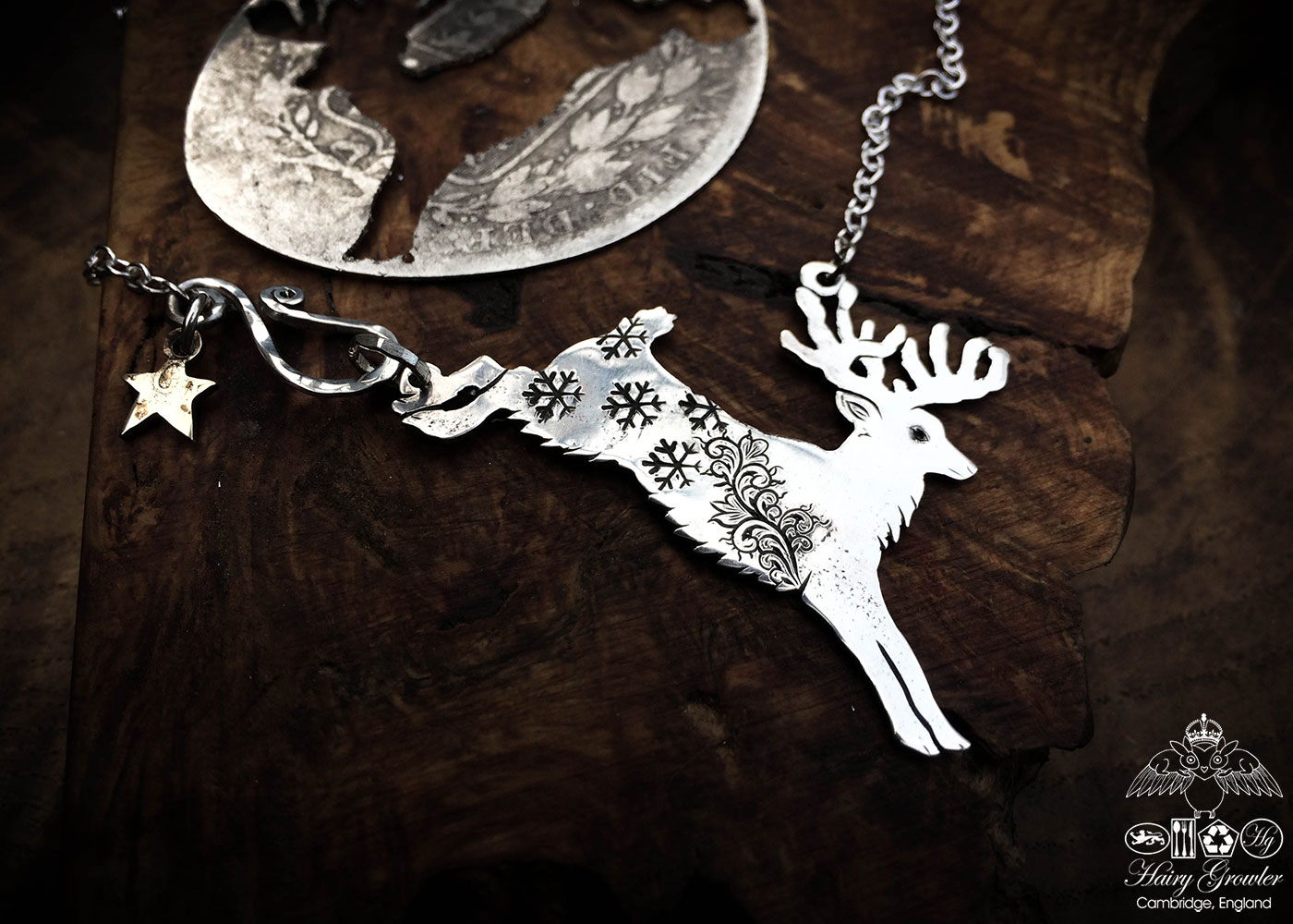 Handcrafted and recycled sterling silver half crown Reindeer dashing through the snow necklace
