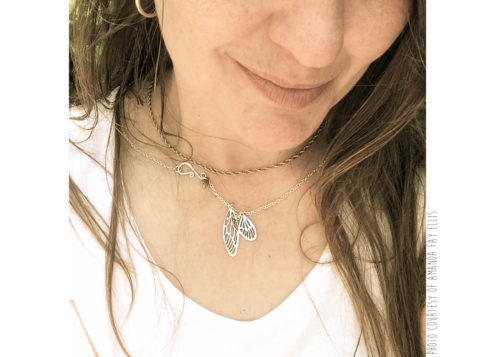 Handmade, upcycled, sterling silver fairy faerie wings necklace being handmade photo courtesy of Amanda Fay Ellis