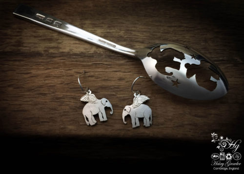 handmade and upcycled spoon flying elephant earrings