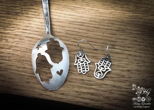 handcrafted and recycled spoon hand-of-fatima earrings khmissa