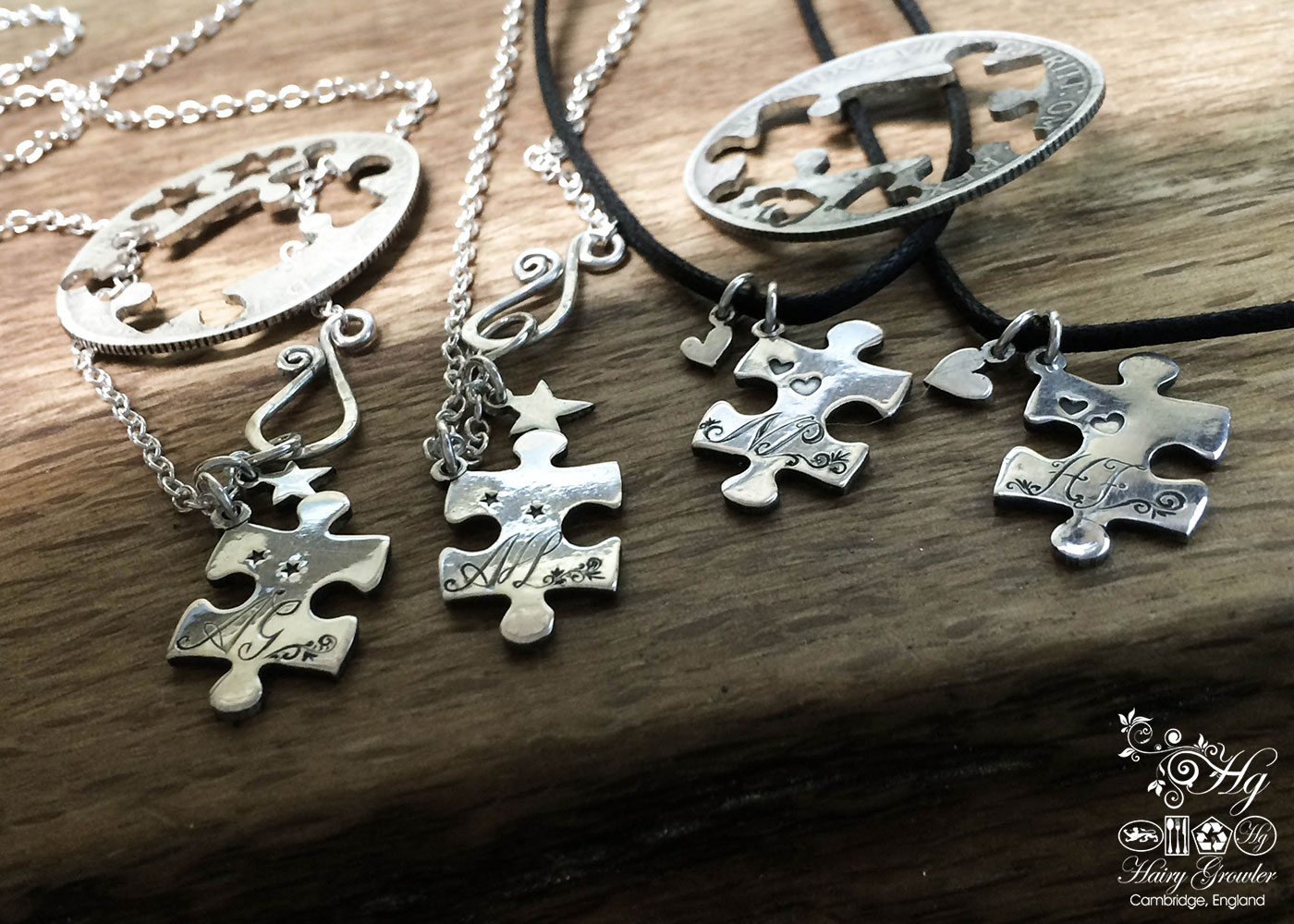 Handmade and repurposed jigsaw pieces necklace silver coin