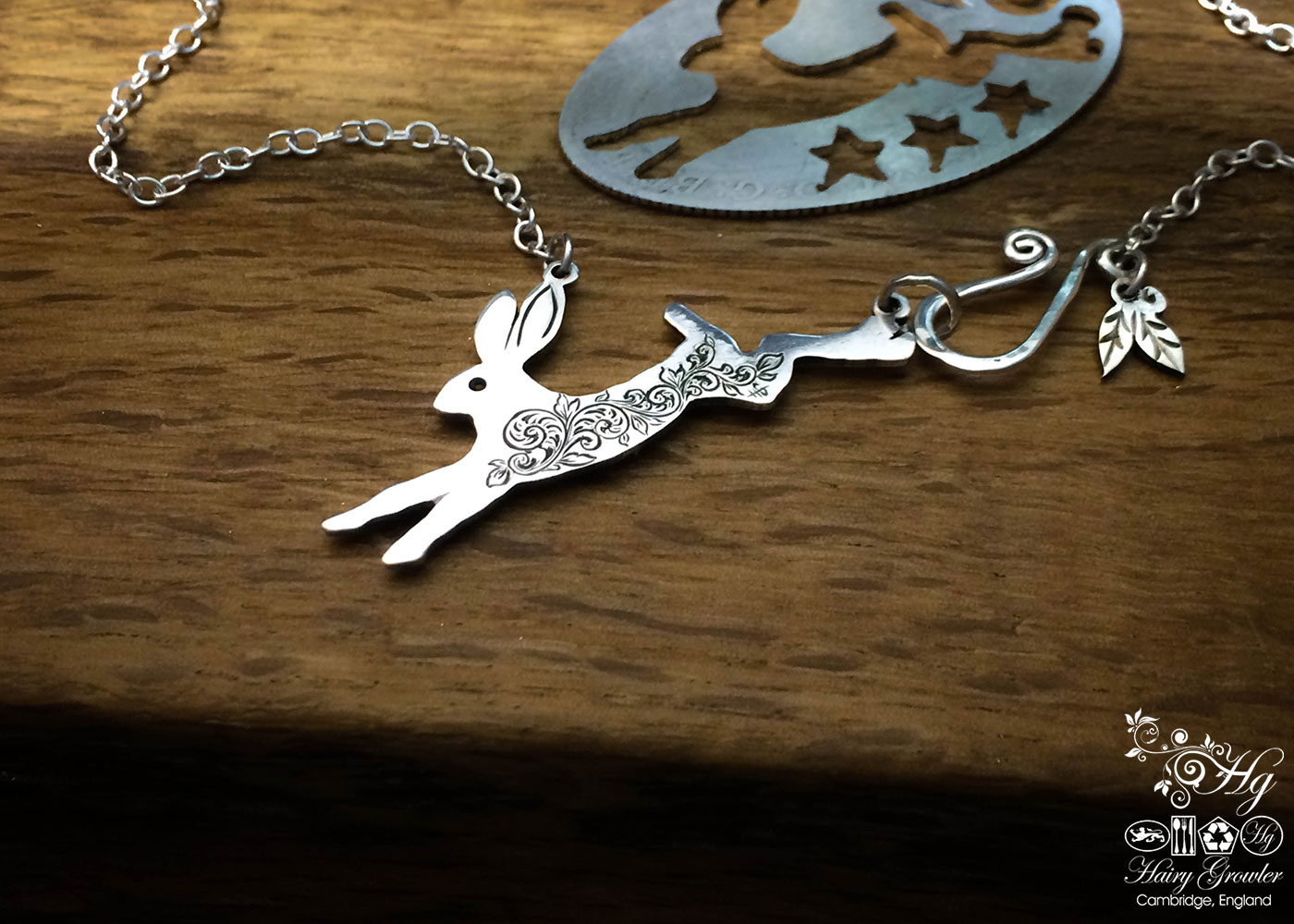 Handmade and upcycled sterling silver magical leaping hare necklace