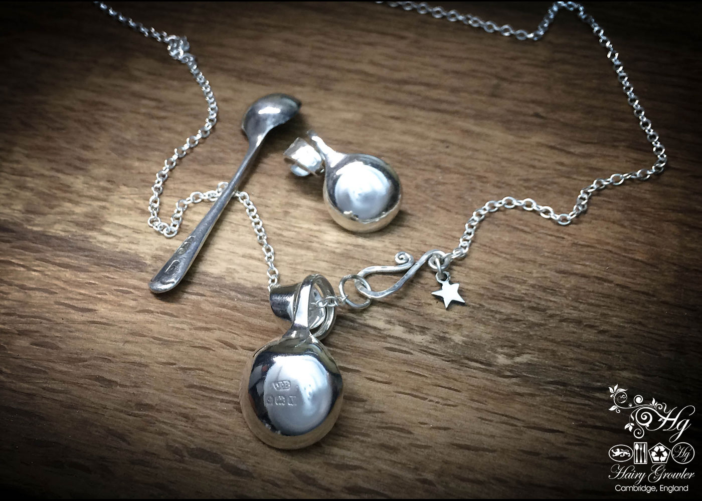 handcrafted and recycled sterling silver salt spoon necklace pendant