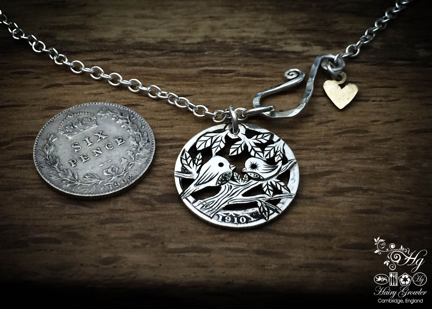 hand crafted and upcycled silver sixpence coin tweet together necklace