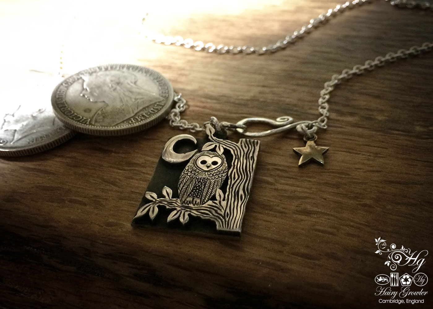 The owl in the tree silver coin necklace