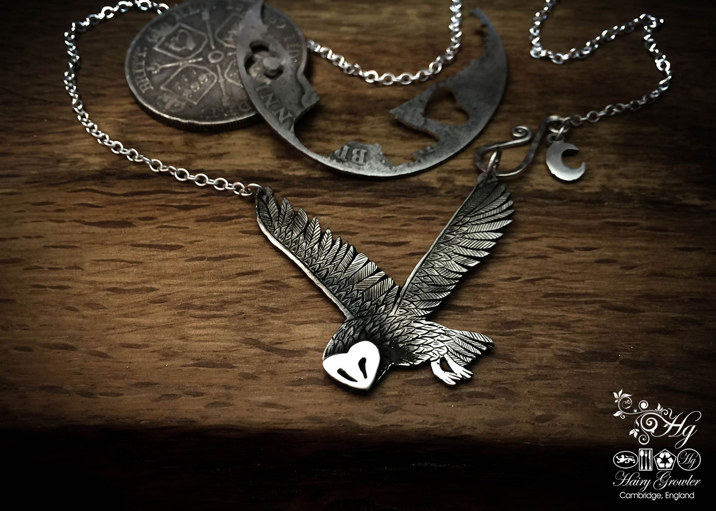 Owl necklace - ethical and original, handcrafted and recycled silver coins