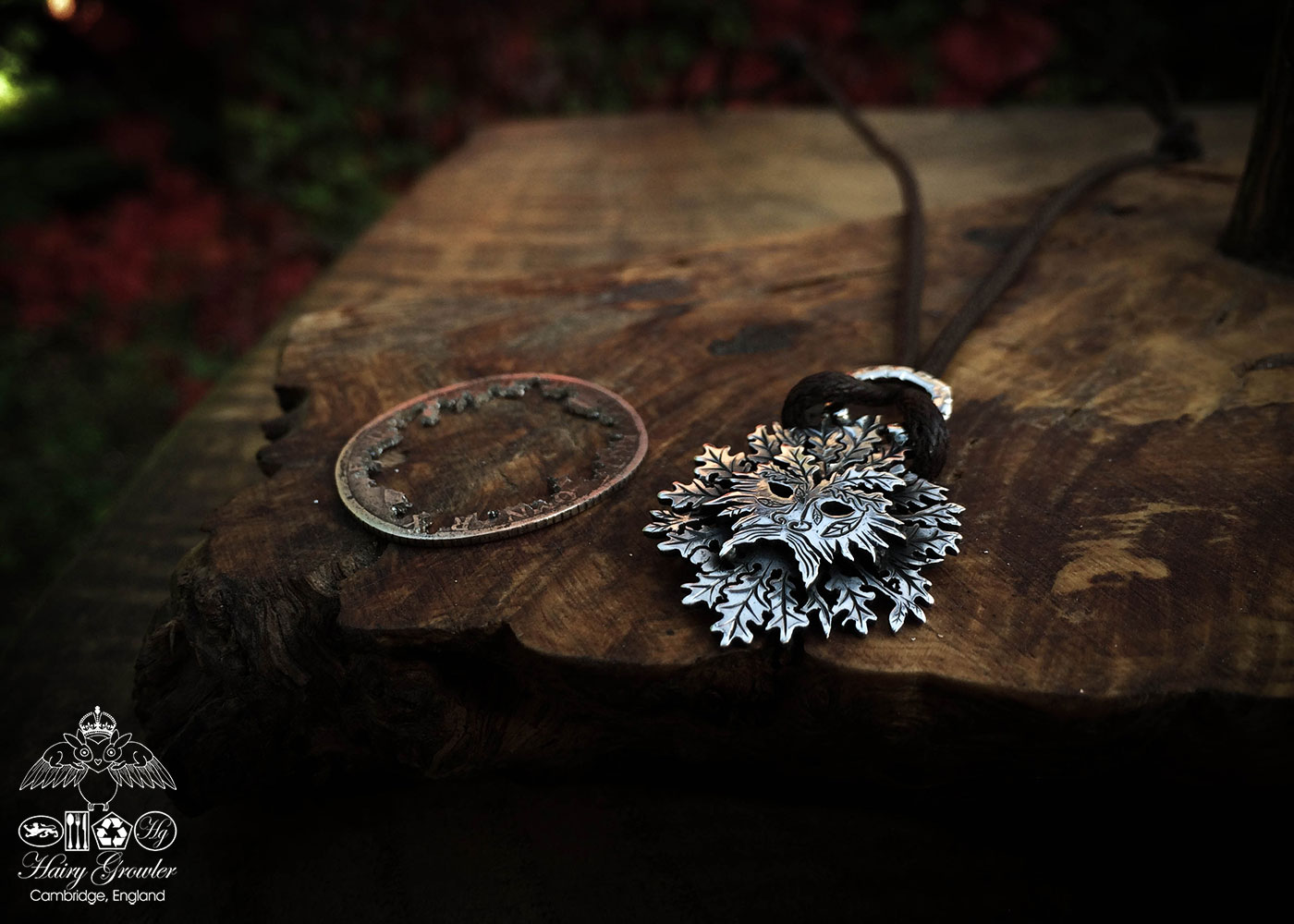 handmade and repurposed silver shilling coin Greenman necklace pendant