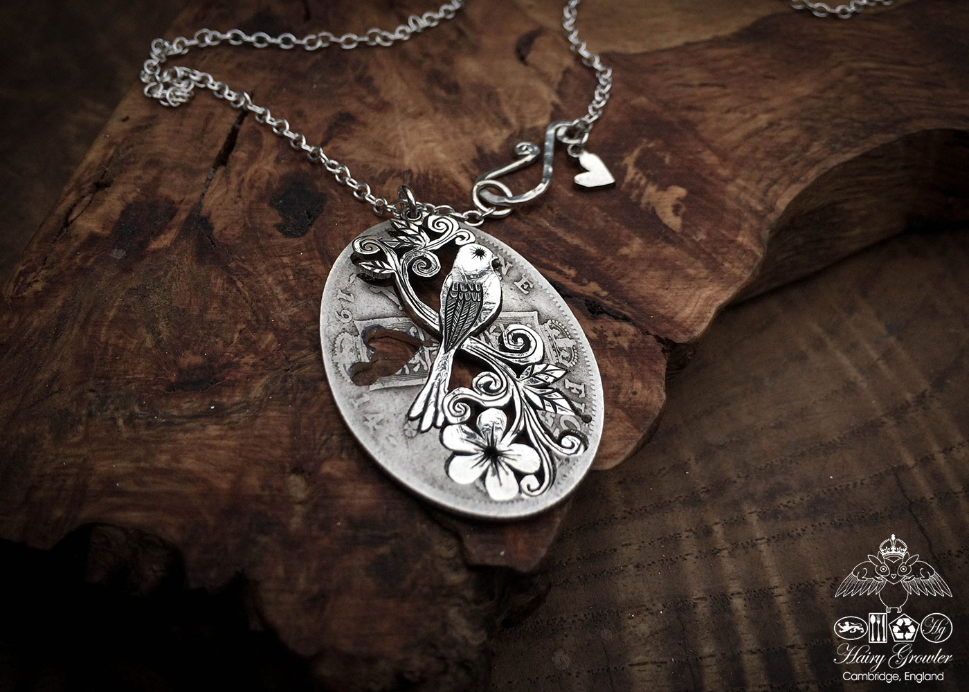 bestival festival necklace - handmade and recycled using silver coins