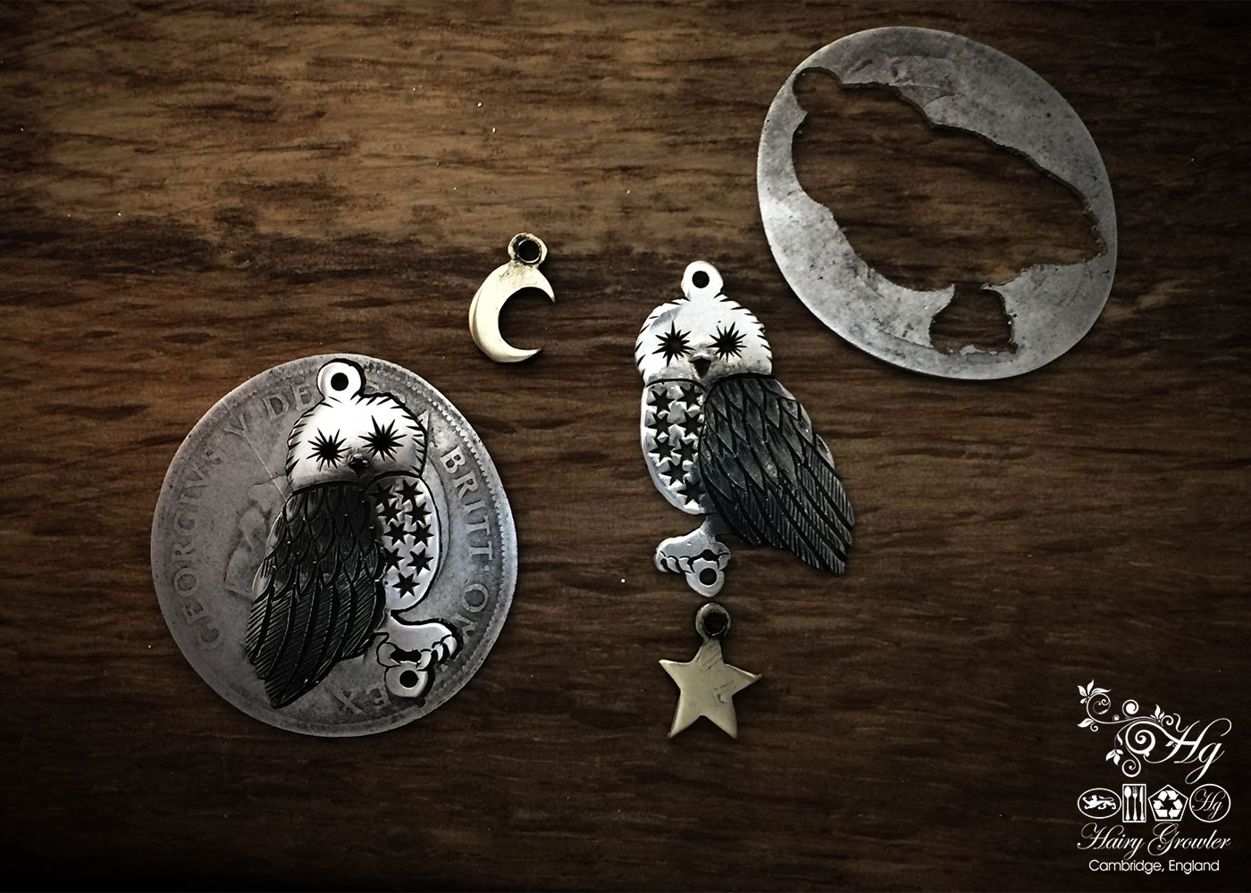 handcrafted and recycled silver Georgian shilling owl earrings made in Cambridge