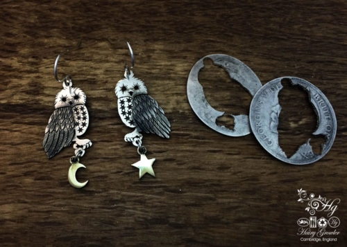 handcrafted and upcycled silver Georgian shilling owl earrings made in Cambridge