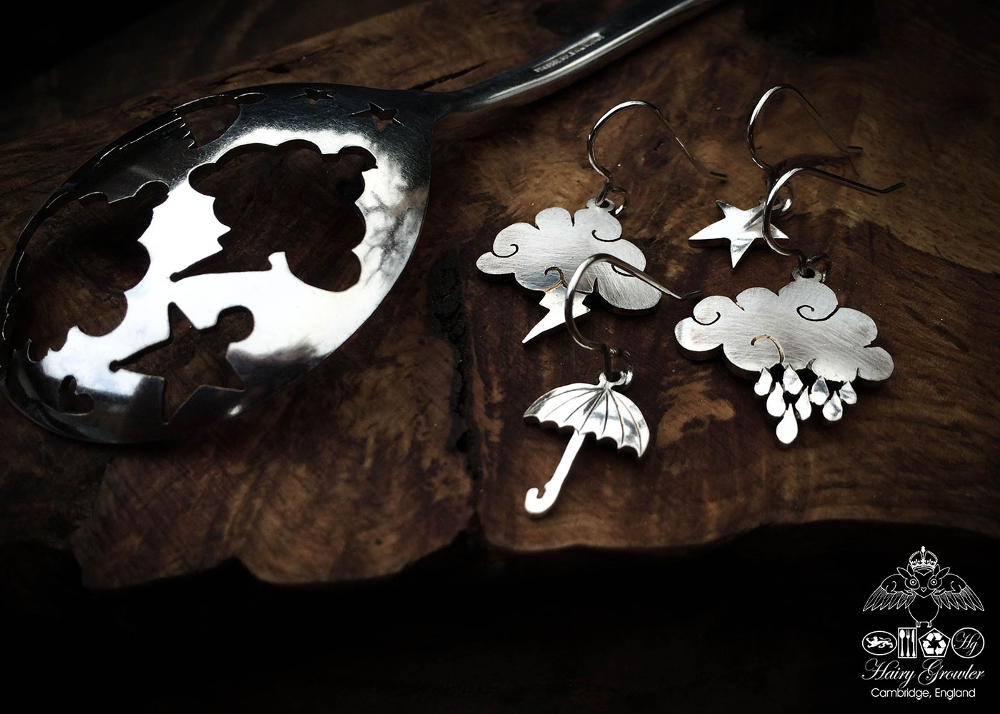 handcrafted and recycled spoon cloud and umbrella summertime earrings