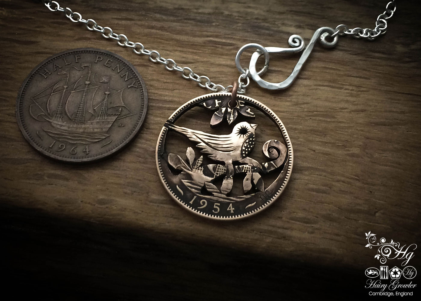 Handcrafted and recycled little bird coin pendant necklace