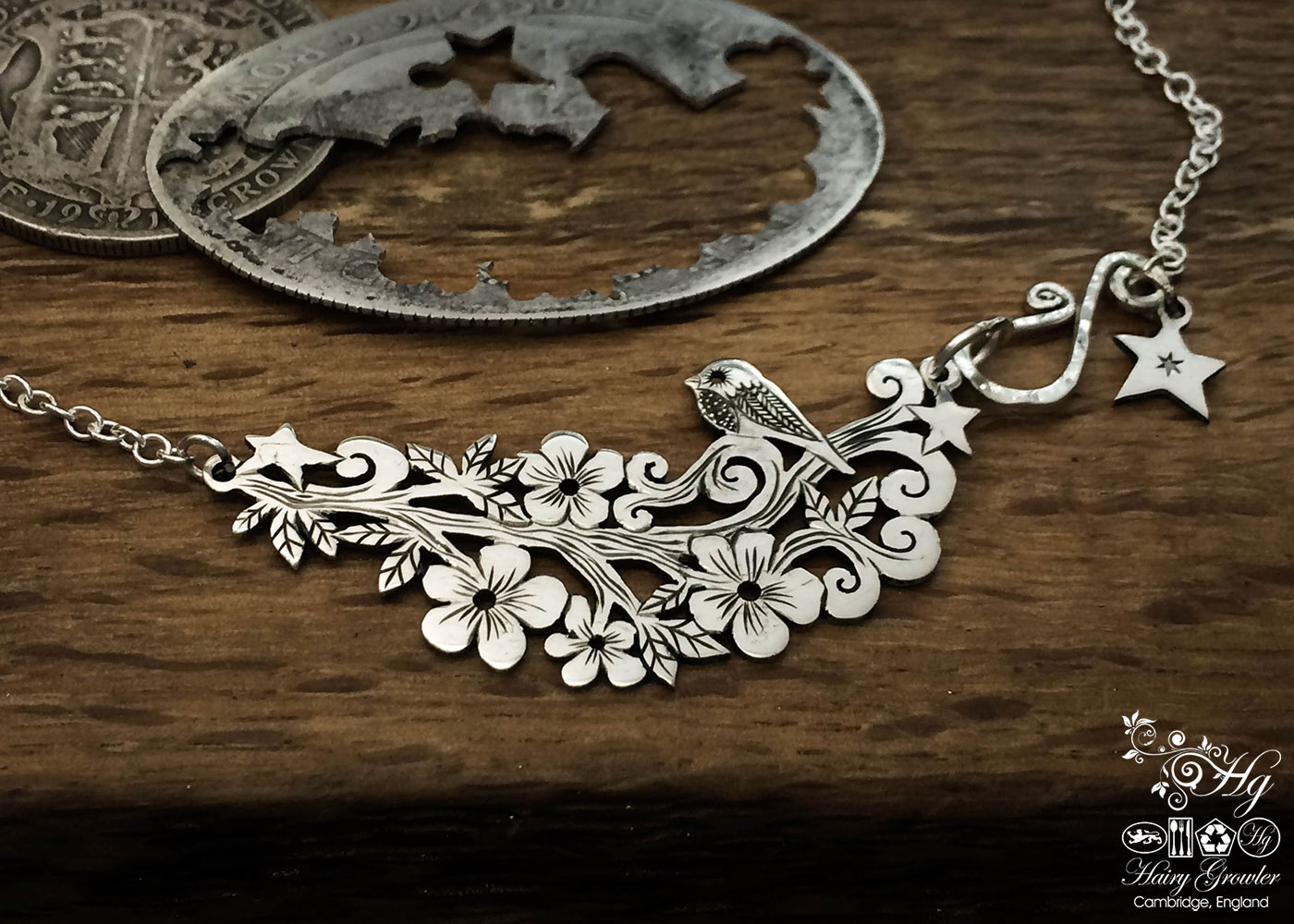 Handcrafted and recycled sterling silver 'Tweet me' necklace