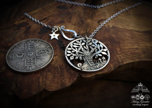 Handcrafted and recycled Tree of Life silver coin pendant necklace