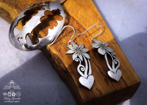 handcrafted and recycled spoon flower earrings