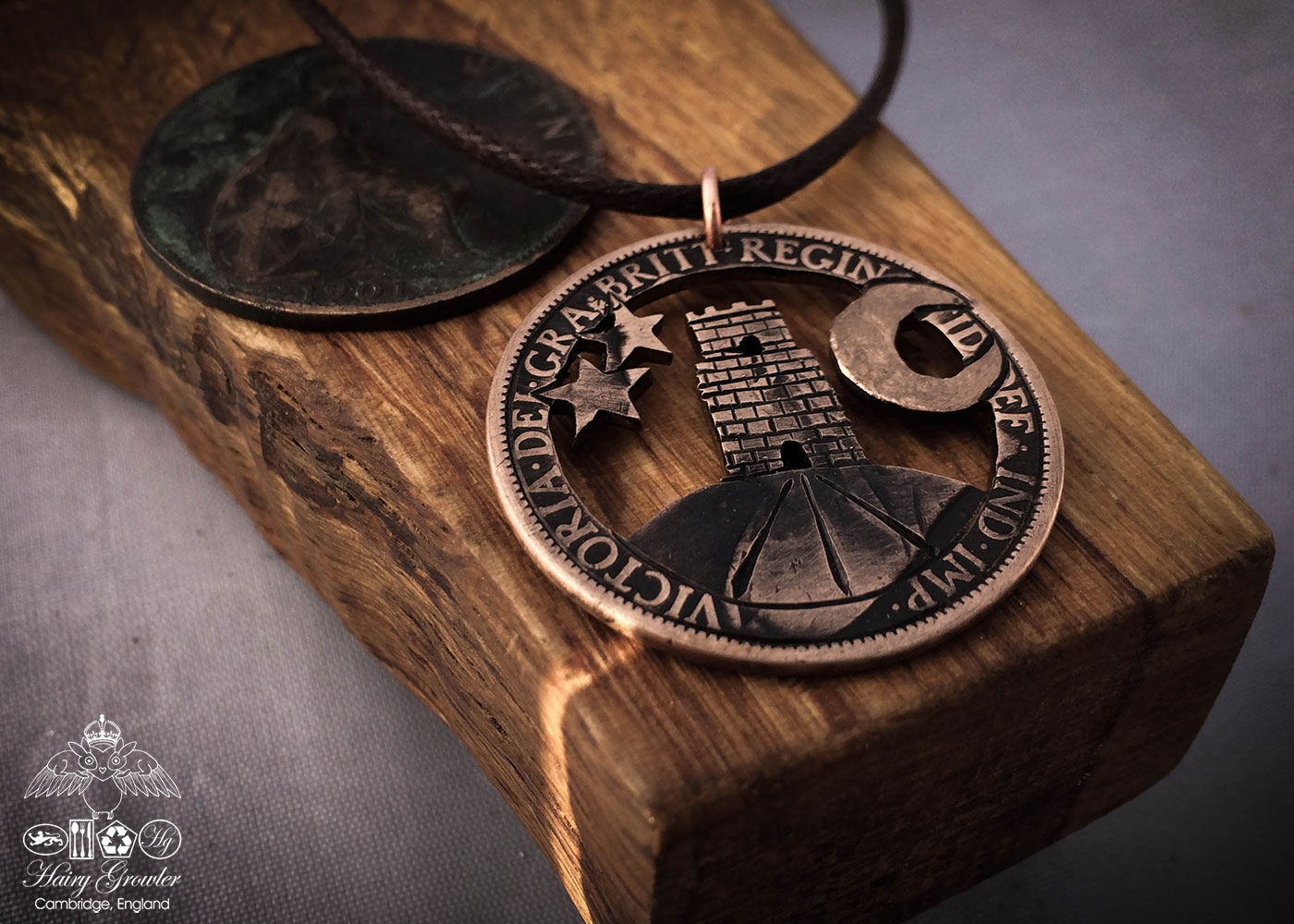 Handmade and repurposed Glastonbury Tor coin pendant necklace