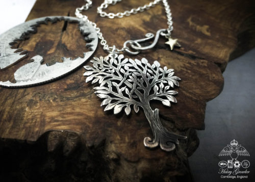 Tree necklace Handmade and upcycled silver Glimpses of summer tree necklace