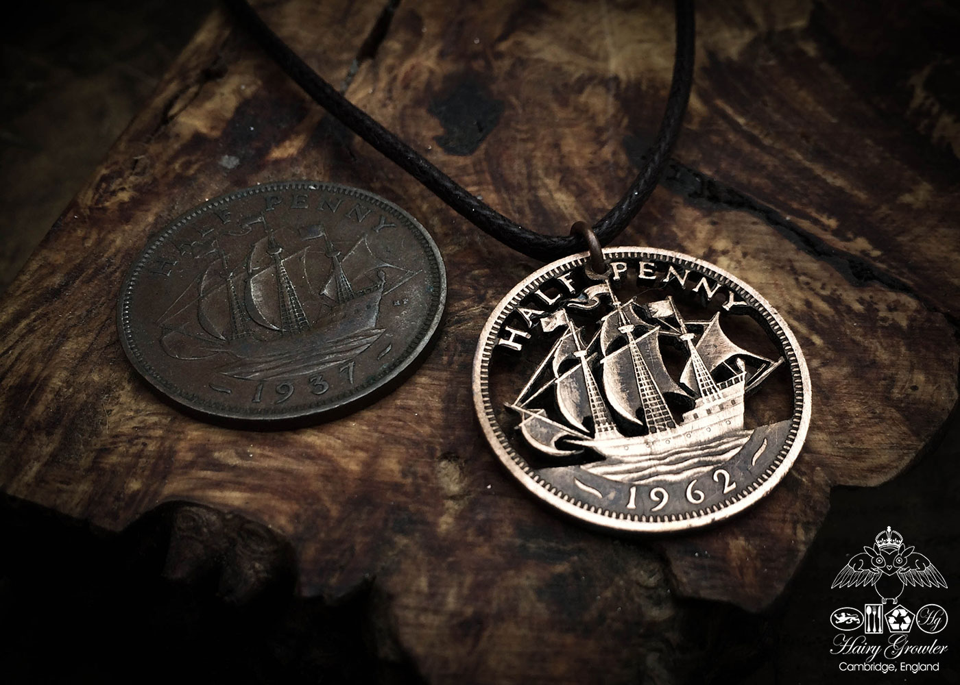 Handmade and upcycled Golden Hind ship coin pendant necklace