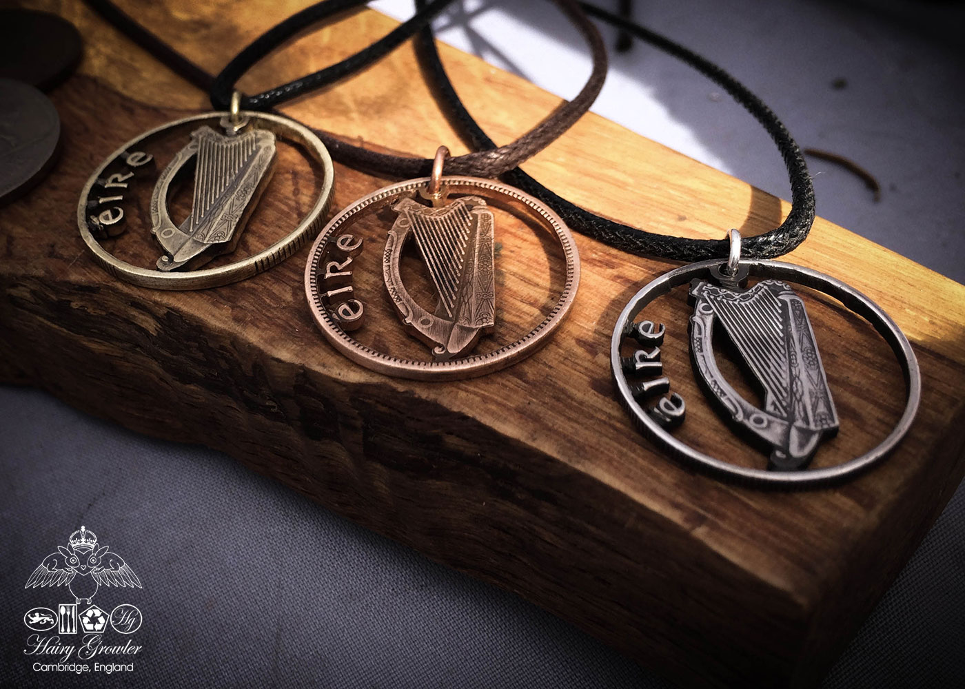 Handmade and recycled Irish harp coin pendant necklace