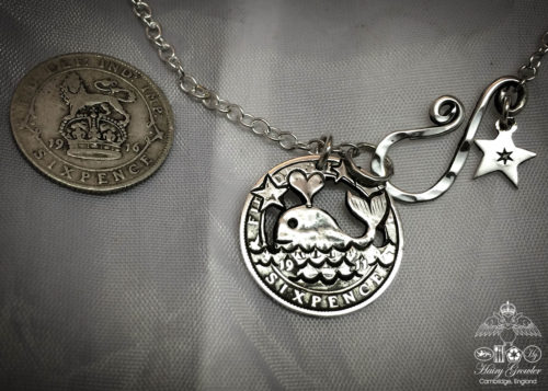 Handcrafted and recycled silver sixpence Moby Dick whale coin necklace pendant
