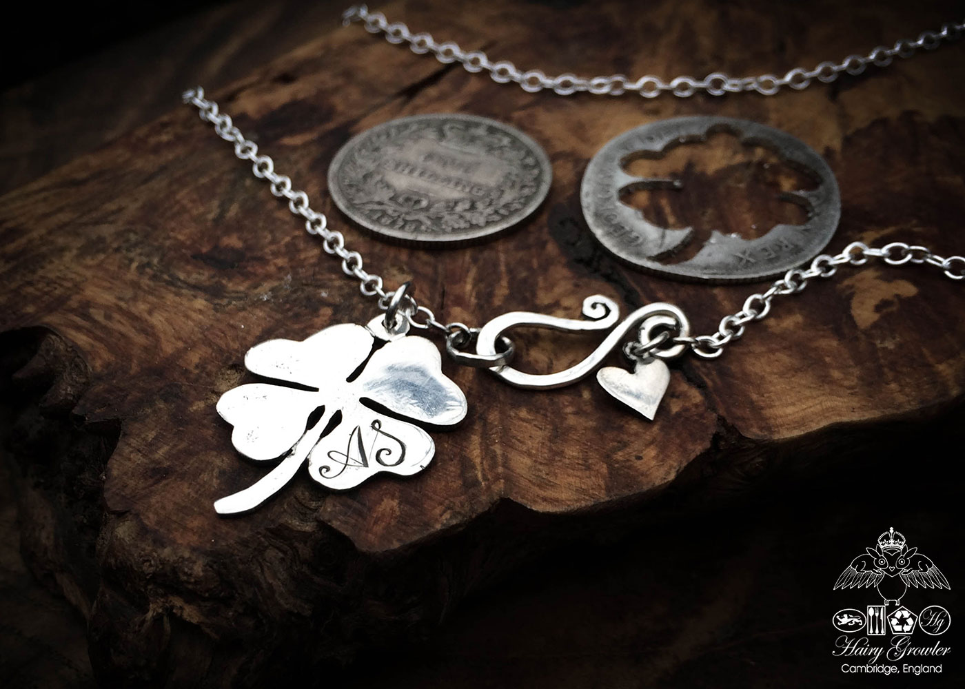 handmade and recycled silver four leaf clover necklace pendant