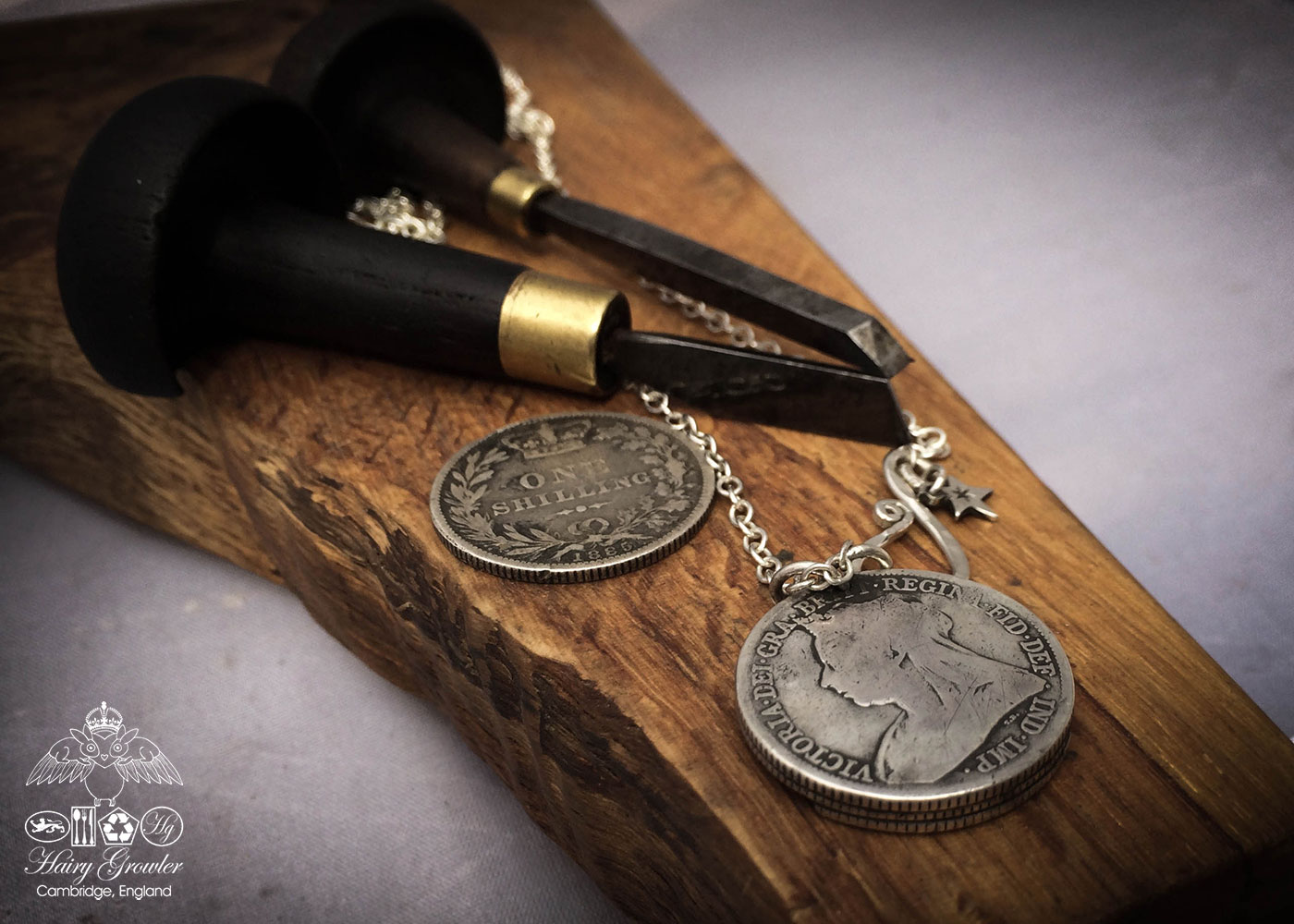 moon gazing hare necklace handcrafted and recycled from three silver shilling coins all over 100 years old